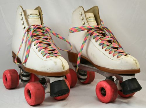 Vintage Leather Women's RIEDELL 121 WHITE ROLLER SKATES WOMEN'S size 9 used