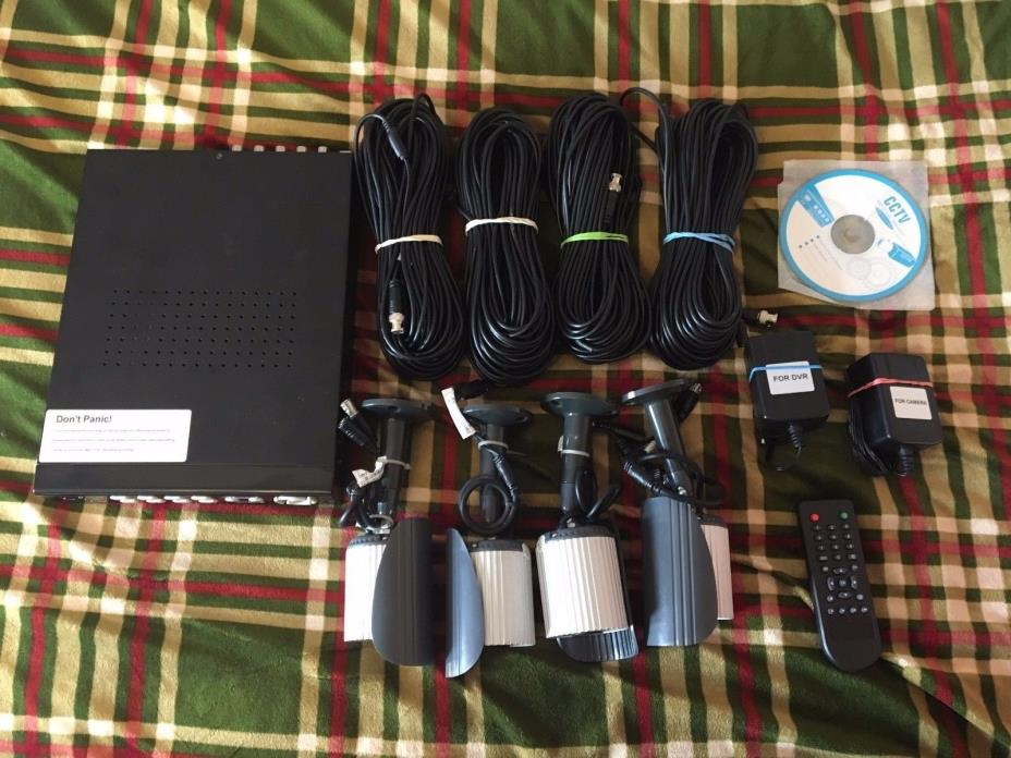 Rosewill Security Camera System 8CH DVR, 4 cameras, remote and cables