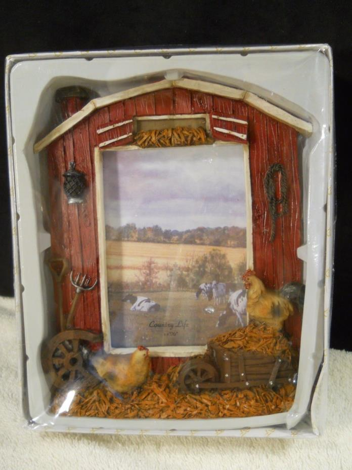 "Country Life Photo Frame for 3"" x 5"" photo Red Barn Roosters Hay ArtMark"