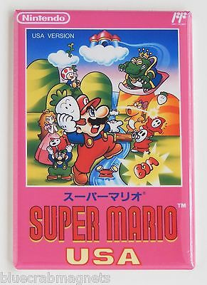 Super Mario Bros USA FRIDGE MAGNET (2 x 3 inches) video game box famicom nes