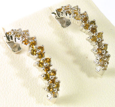Beautiful Canary Yellow Diamond Earrings in 14K White Gold