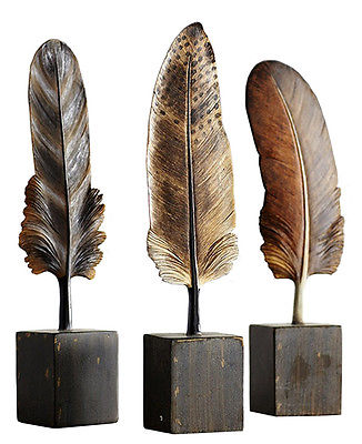 Melrose Set of 3 Feather Figurines Standing Feathers on Base 11
