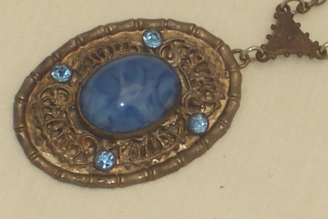 Art Deco Blue Opalescent Swirl Glass Cabochon & Rhinestone Pendant Necklace