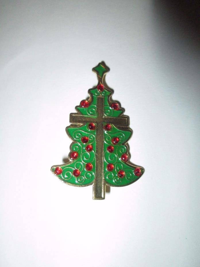 Christmas Tree with Cross in the middle Pin Brooch