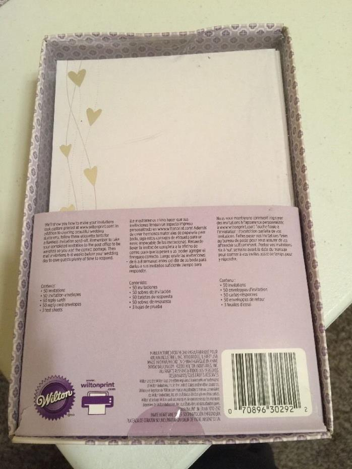 Wilton White Embossed Silver Hearts 50 Wedding,Anniversary Printable Invitations