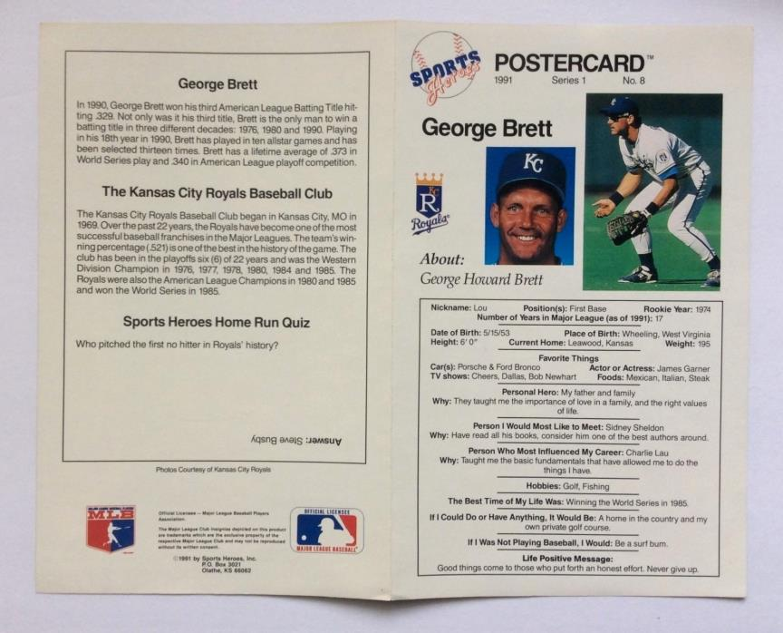 1991 Sports Heroes Baseball Postercards 8 x 10 Color Poster  76 Cards HTF