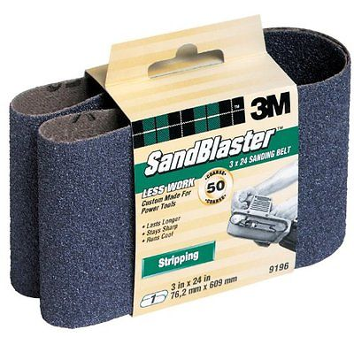 3M SandBlaster 9196NA 3-Inch by 24-Inch 50-Grit Stripping Power Sanding Belt