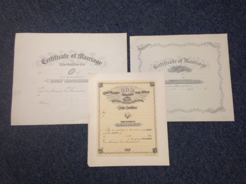Lot Of 3 Vintage Wedding Marriage Certificates