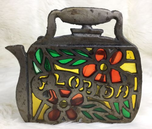 Vtg Florida Teapot Napkin Holder Metal Tiffany Style Stained Glass Mail R4