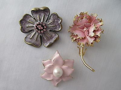 Lot of 3 Flower Pin Brooch w/ Goldtone Around Edge – 1 Lavender & 2 Pink