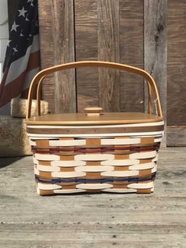 Longaberger Red White Blue Cake Basket Set W Lid Rise Protector Limited Edition