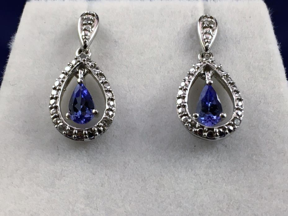 10K White Gold Tanzanite and Diamond Drop Earrings (GL40)
