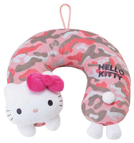 Sanrio Hello Kitty Travel Neck Pillow Cushion Toy: Camo K/T Design NEW W TAG