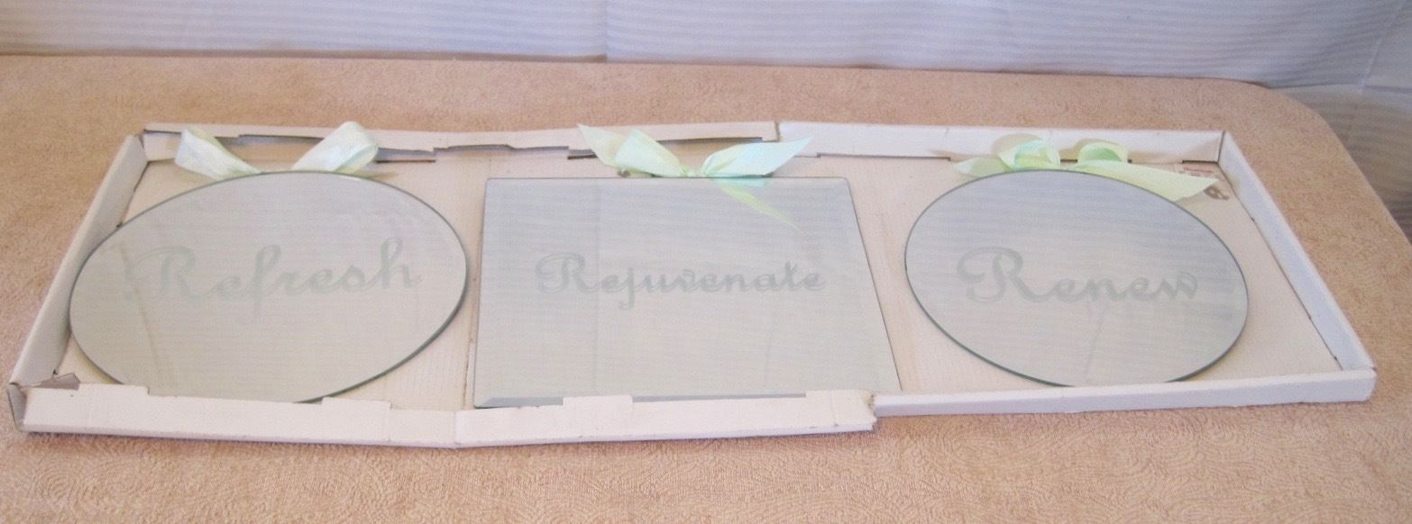 New Home Goods Refresh, Rejuvenate, Renew Etched Home Decor 3 Pc Mirrors