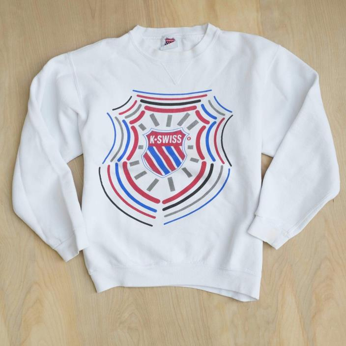 Vtg 80s 90s K-Swiss Classic Crewneck Sweatshirt White Front Big Logo Size S