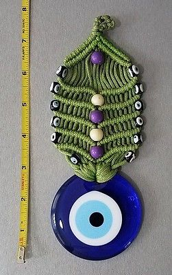 Round Blue Glass Evil Eye Hand Made, Wall Door Hanging Decor, height 7''