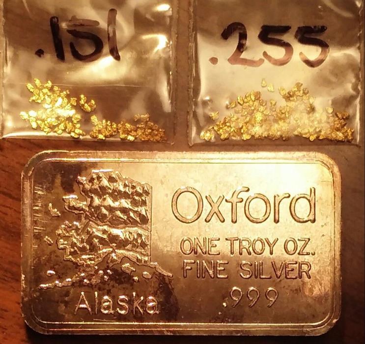 Alaska Gold & Silver! .4 grams nuggets & 1 oz .999 bar. Medal/exonumia/token/bar