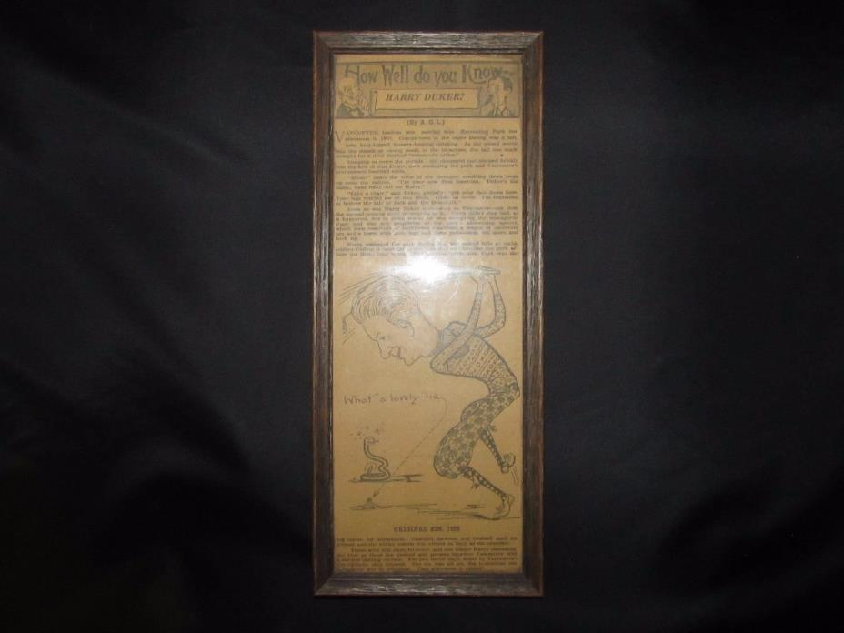 Vintage Vancouver B.C Framed Newspaper Clipping (Harry Duker Recreation Park)