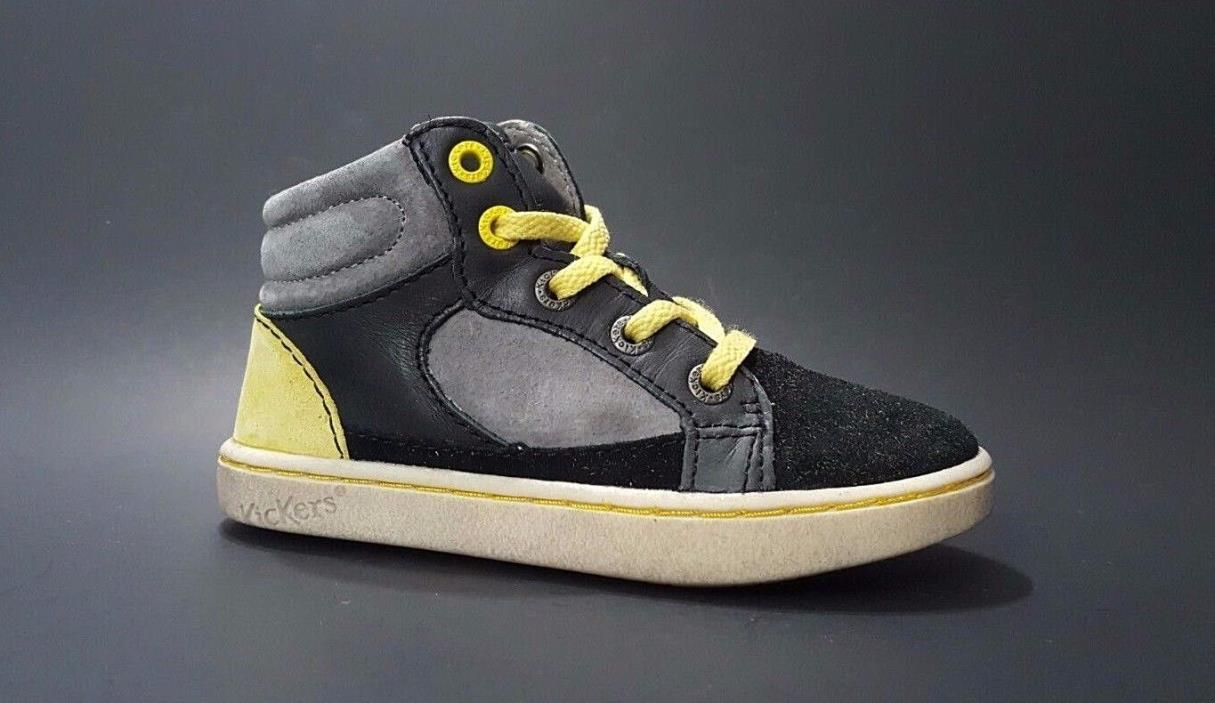 Regular Price $80 KICKERS Toddler Boys Shoes LEATHER Black Size 8 USA/24 EURO
