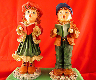 Collections Etc Boy & Girl  Christmas Carollers 12