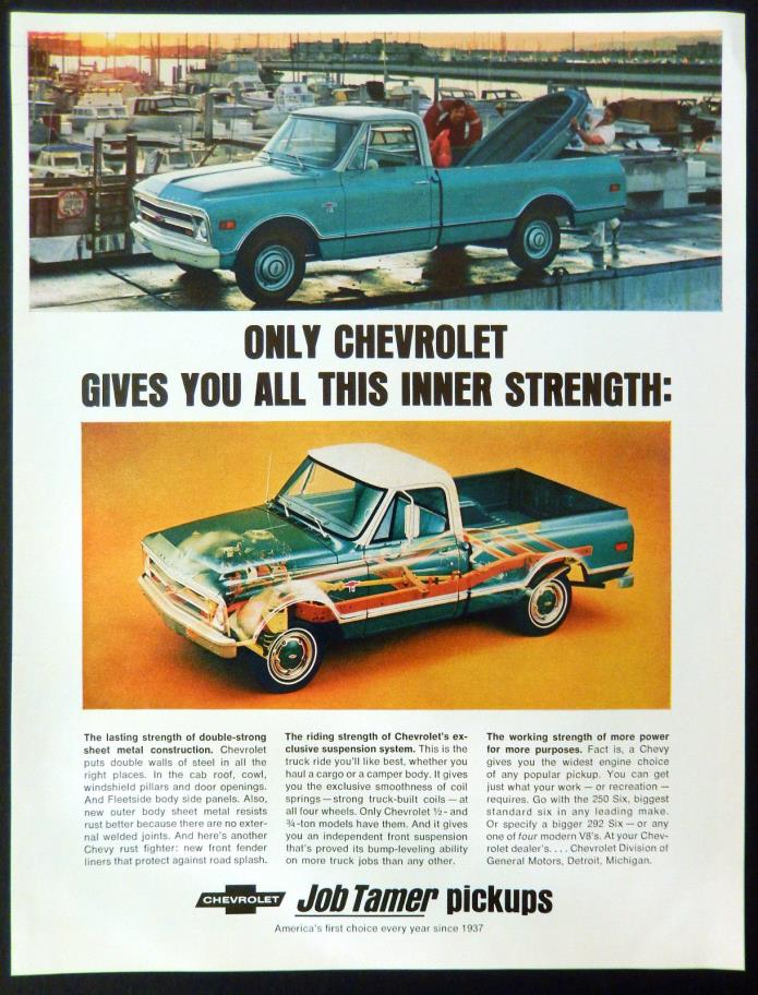 Vintage 1968 Chevy job tamer pickup truck advertisement print ad art
