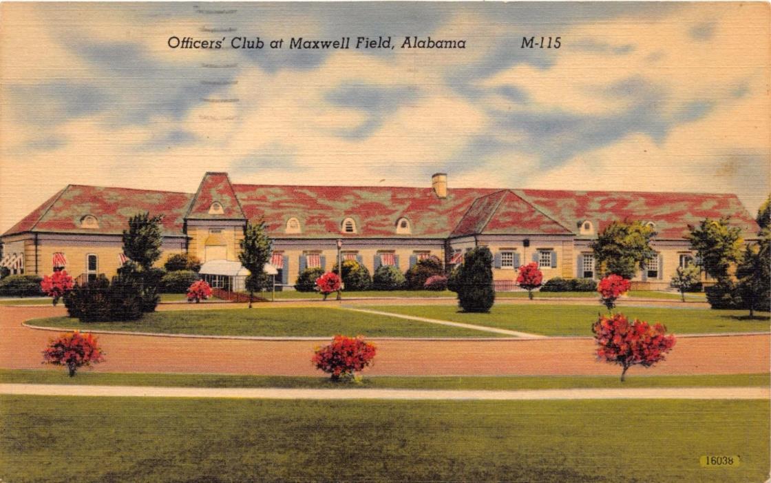 MAXWELL FIELD ALABAMA OFFICERS CLUB~ WW2 MILITARY~S D WINN CIGAR POSTCARD 1943