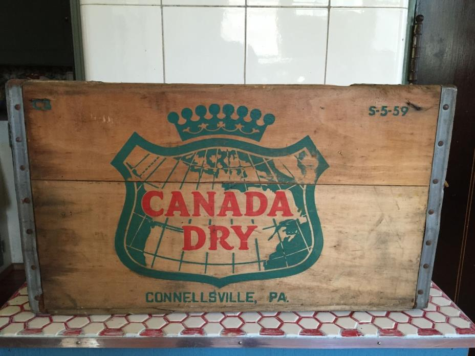 Vintage 1960s 60s Wood Metal Canada Dry Soda Bottle Crate no.2