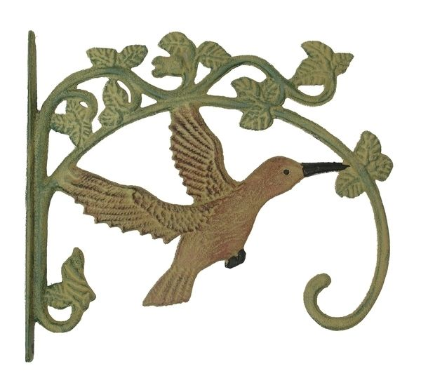 Rustic Country Style Cast Iron Hummingbird Plant Hanger Set of 2