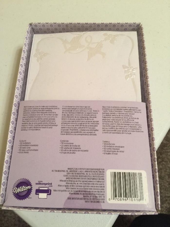 Wilton White Embossed Birds 50 Wedding,Anniversary Printable Invitations