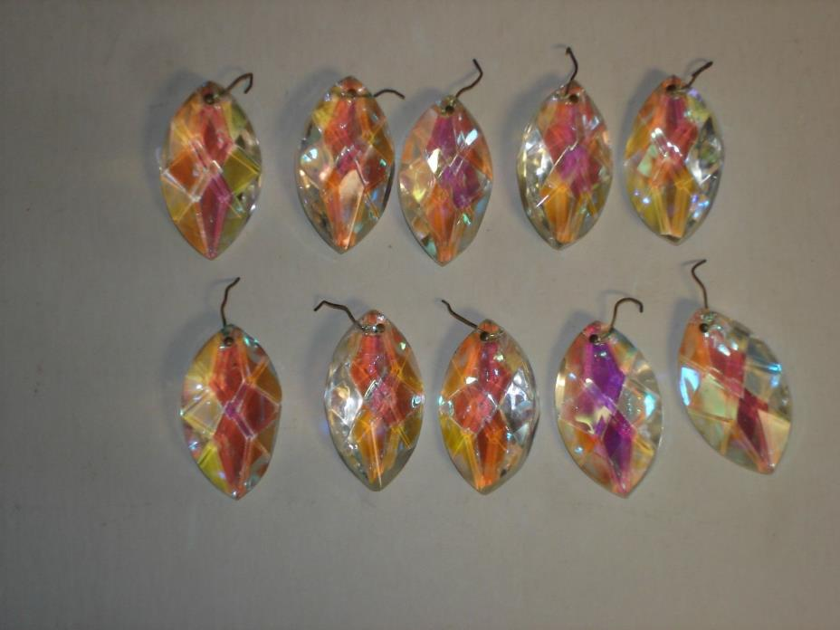 AUORA BOREALIS SET OF 10 CRYSTAL TEARDROP SHAPE CHANDELIER PRISMS IRIDESCENT 2