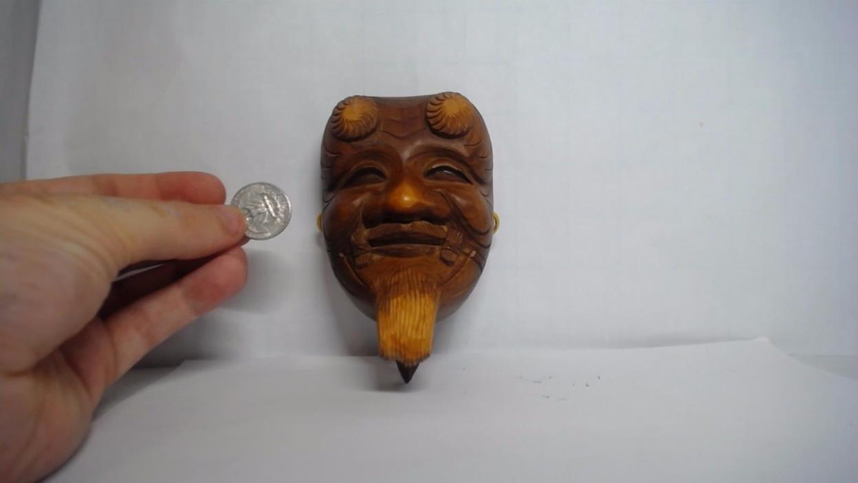 Japanese Old Man mask Wooden Hand Carved art sculpture