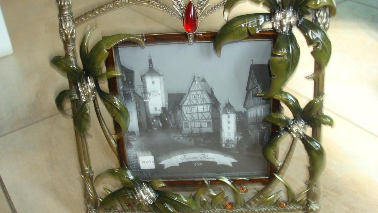 JEWELED PICTURE FRAME * FLORIDA PALM TREES AND CRYSTALS *
