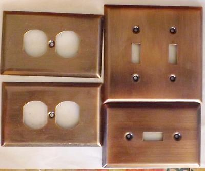 4 GE Antique Copper Outlet wall Plates 0951, 1010 & 2 1010