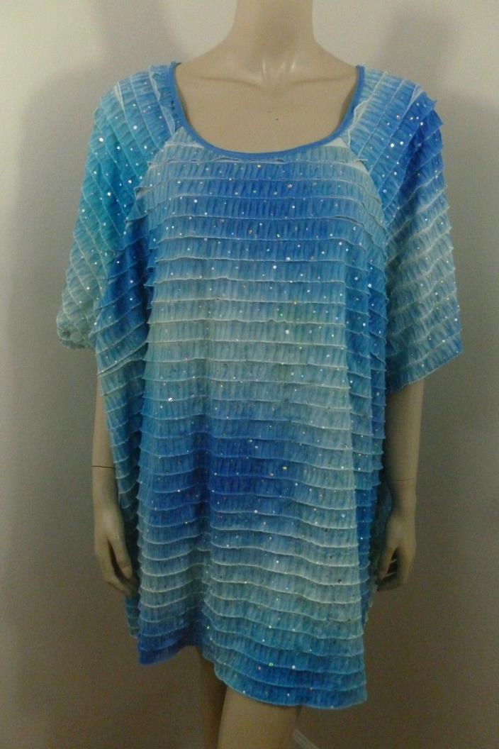 Maggie Barnes Blue Tiers Sequins Cap Sleeve Top Woman Plus Size 5X 34/36