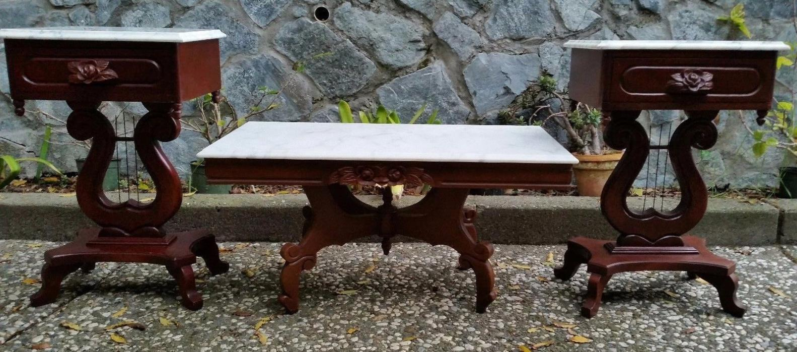LYRE HARP MAHOGANY SIDE TABLES & COFFEE TABLE WITH BEVELED MARBLE TOPS