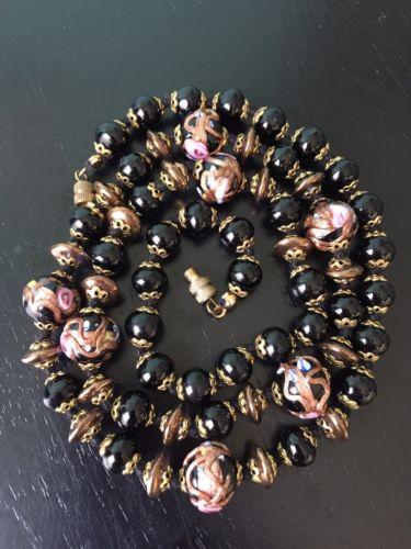 vintage black pink gold venetian glass knotted rose bead necklace wedding cake
