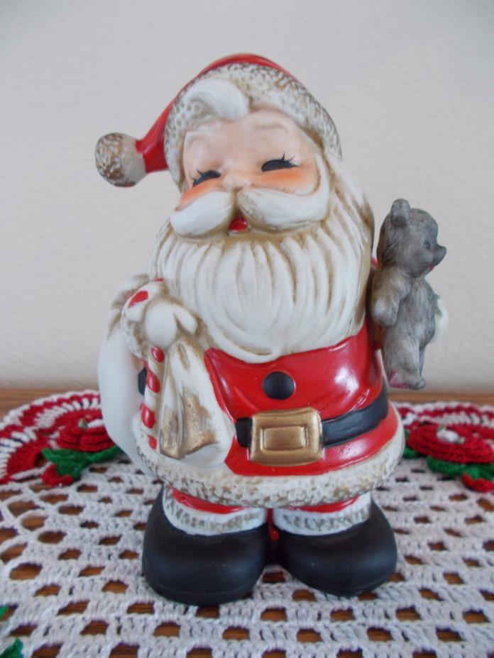 HOME INTERIOR VINTAGE SANTA CLAUS CHRISTMAS BANK FIGURINE