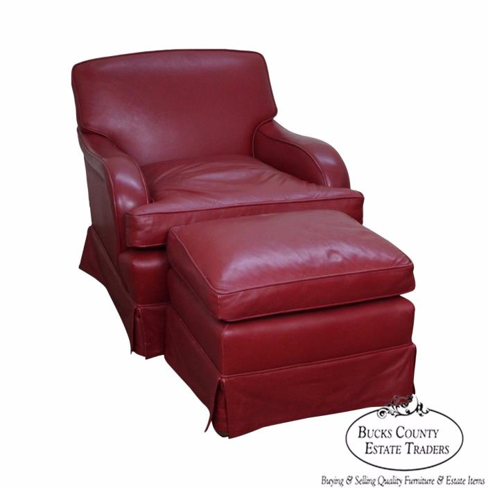 Martin Industries Custom Red Leather Lounge Chair w/ Ottoman