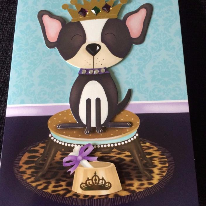 Card Dog with Crown Blank Note Card Greeting NEW Burgoyne