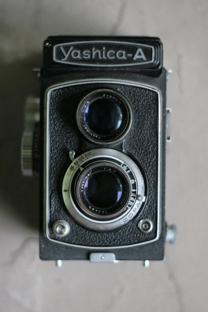 Vintage Yashica-A Camera, Cool! Sharp lens! Works, Read!