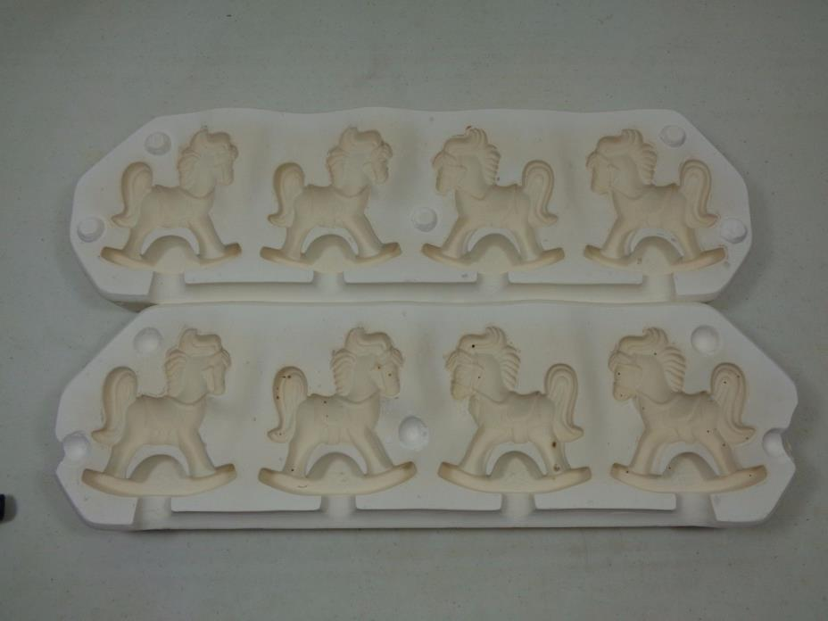 Vintage 1979 Scioto #S182 4 Rocking Horses Beads Ceramic Mold