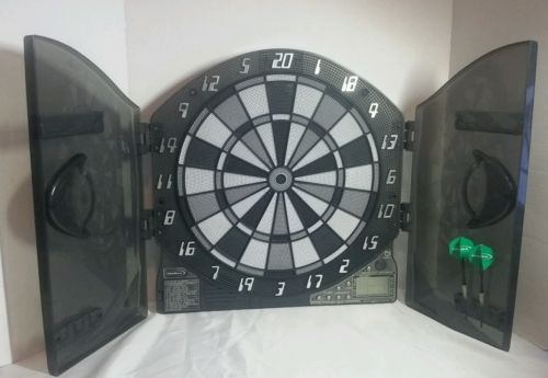 Halex Electronic Dart Board Gray and Black With Doors and 2 Darts #64426
