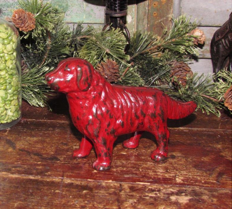 Original Antique Vtg Cast Iron Arcade Newfoundland Red Dog Still Penny Bank