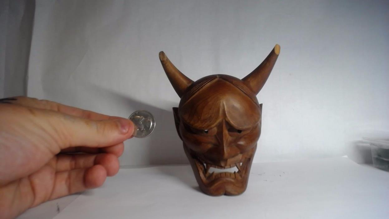 Japanese Oni mask Demon Wooden Hand Carved