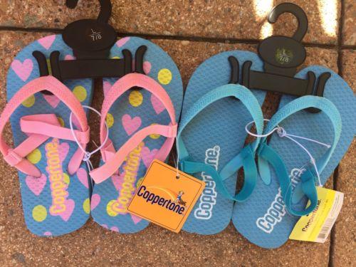 Coppertone Kids Girls Toddler Heart Beach Flip Flops Sandals L 7/8 2-Pairs ????