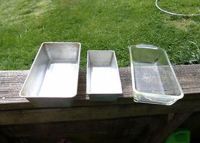 3 Vintage Bread or Cake Baking Pans - Glass & Aluminum - Fire King & Bake King