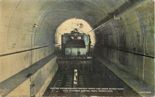 C-1910 Detroit Michigan Electric Motor  Train River #750 postcard 2266