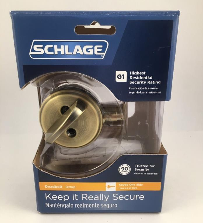 NEW Schlage B60N609 Deadbolt, Keyed 1 Side, Antique Brass