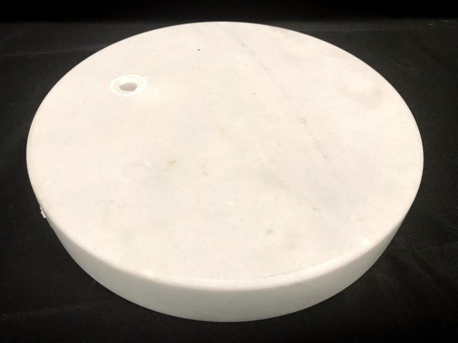 Round White Marble Lamp Base With Concave Beveled Edge 12-1/2