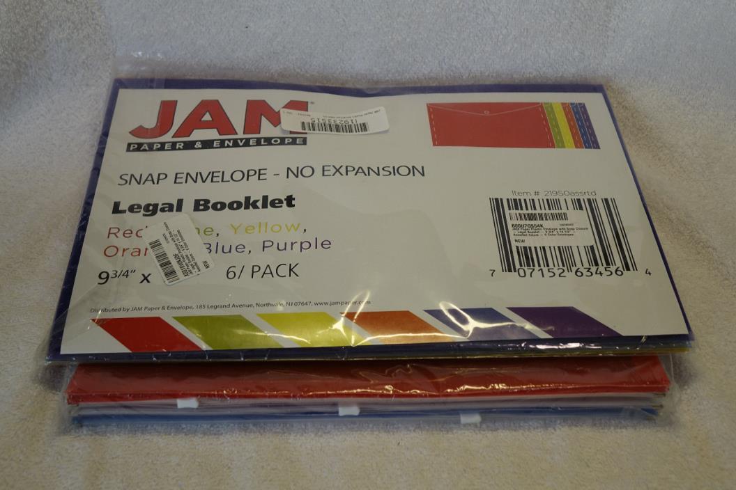 JAM Paper 6 Pack Size 9 3/4 X 14 1/2 Plastic Snap Envelope Legal Booklet Colors